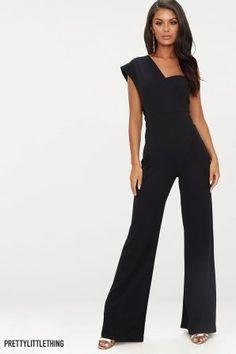 9d285ffd7bed Womens PrettyLittleThing One Shoulder Wide Leg Jumpsuit - Black