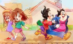 Roxanne, her friend, Max, & PJ all as little kids