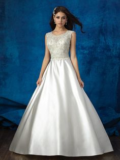 Channel your inner princess in this satin, beaded ballgown // Allure Bridals 9357