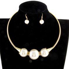 Triple Metallic Pearl Collar Necklace/Earrings Set
