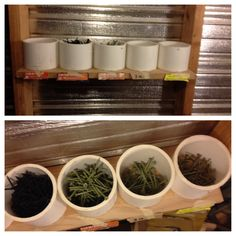 """Screw/Nail organization. I installed a shelf in between the studs in the shed I work out of, then cut 4.5"""" PVC into 3.5"""" sections and glued them down with construction adhesive (comes in a caulking tube). Easy to do and keeps your hardware organized."""