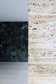 Mies van der Rohe / travertin natural stone / detail -