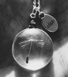 """Round glass necklace with a real dandelion seed inside Pendant size: 25 mm / 0.9"""" Chain length is 50 cm / 20"""" Pendant looks elegant and it is the perfect match"""