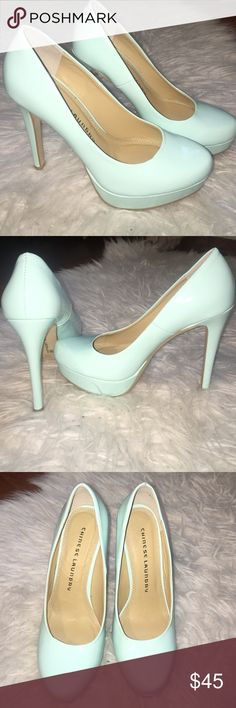 Chinese laundry pumps heels! Super cute and sexy heels! Worn once! Very original color minty/ pastel blue (captured well in the pictures). Tagged Other brands for exposure. These are Chinese laundry. XO! Chinese Laundry Shoes Heels