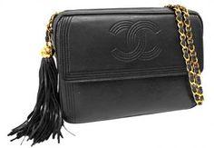 Chanel Black Lambskin Leather Large Camera Bag Purse W/ Tassel