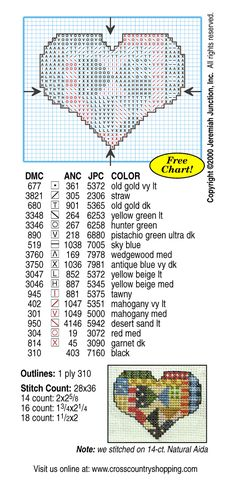 free chart patchwork heart cross stitch