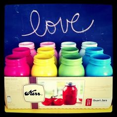 Spray painted mason jars!  So cute!