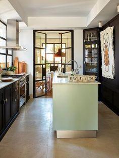 Cocina verde y negro