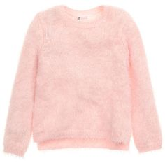 Fluffy Sweater $17.99 ($18) ❤ liked on Polyvore featuring tops, sweaters, knit top, pink knit top, pink knit sweater, light pink sweater and slit top