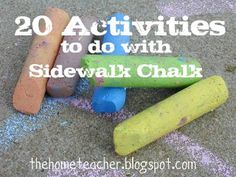Sidewalk chalk is one of those basic necessities for outdoor play….right along with bubbles and jump ropes! We spent the greater part of an afternoon writing and drawing with the chalk and inspired me to write this post! Here it is… 20 activities you can do with your child using sidewalk chalk! Practice writing letters …