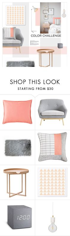 """Gray and Peach"" by magdafunk ❤ liked on Polyvore featuring interior, interiors, interior design, home, home decor, interior decorating, JCPenney Home, .wireworks, Flamant and Renwil"