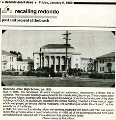 A little history here. Redondo Union High School 1920.