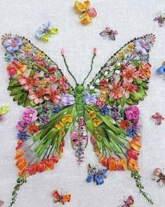 3078 Likes 38 Comments - HandmadeРукоделиеТворчество (@handmade.doma) on Instagram: #butterfly #embroidery #ribbonembroidery #SilkRibbonEmbroidery