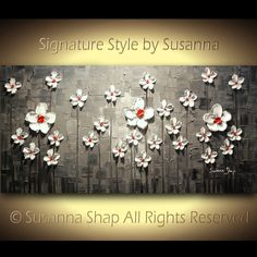 ORIGINAL Abstract Contemporary Heavy Texture Black White Red White Daisies Impasto Landscape Painting by Susanna 48x24 Ready to Hang on Etsy, $375.00