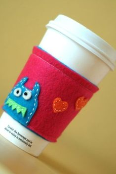 monster coffee sleeve • little bird creations This is a perfect gift for all my coffee and hot tea loving friends!