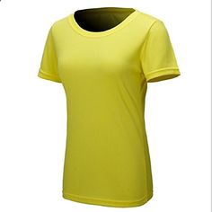 Mokingtop Womens Outdoor Quick Dry Sportwear Tshirts Yellow. More description on the website.