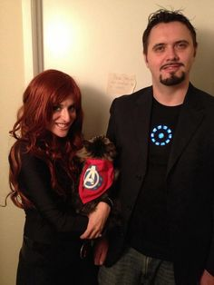 tony stark iron man and black widow with our maine coon cat storm epic halloween costumeshalloween