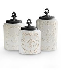 Another great find on #zulily! White Ornate Antiqued Canister Set by Jay Import #zulilyfinds