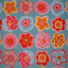 SB Japanese Corduroy Flowers L Blue 1/2 METRE