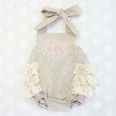 This baby girl's bubble romper is cute beyond words..Linen & Lace is a winning combination and that monogram! <3