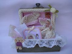 Beautiful miniature dollhouse trunk