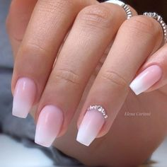 Elegant Coffin Shaped French Ombre Nails With Rhinestones! Elegant Coffin Shaped French Ombre Nails With Rhinestones! Acrylic Nails Coffin Ombre, Classy Acrylic Nails, French Acrylic Nails, Coffin Shape Nails, Best Acrylic Nails, French Nails, Summer Acrylic Nails, Classy Nails, Nails French Design