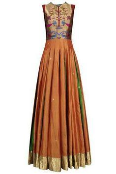 Orange and Green Bird Motifs Flared Anarkali Kurta Saree Gown, Sari Dress, Anarkali Dress, Indian Designer Outfits, Indian Outfits, Designer Dresses, Designer Sarees, Kurta Designs, Salwar Kameez