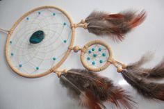 Beigefarbener Traumfänger mit großem Chrysokoll von TRAUMnetz.com     ** DReamcatcher u.v.m.  ** auf DaWanda.com