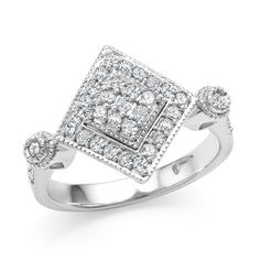 0.50 Carat Diamond Square Ring in Sterling Silver #Netaya