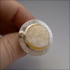 Druzy Agate Sterling Silver 18 Karat Gold Zen by panicmama on Etsy, $280.00