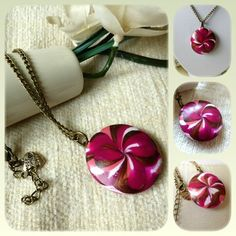 Pink Floral Burst Polymer Clay Pendant Necklace £10.00