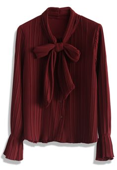 Grace Pleats Bow Top in Burgundy - Tops - Retro, Indie and Unique Fashion