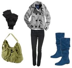 I like how the blue boots add a hint of color to this depressing look. So, does the bag. Love**
