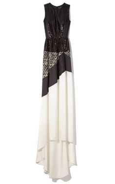Silk Satin Patchwork Gown by Peter Som for Preorder on Moda Operandi