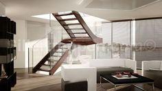 escalera en U con zancas laterales (estructura y peldaños de madera) NORDIC MODERN Siller Stairs