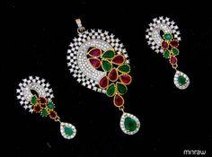 Beautiful stone studded pendant set