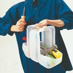 Instant Tool Caddy out of a water jug by cutting the ends off and leaving the handle intact Plastic Bottle Crafts, Plastic Bottles, Plastic Containers, Gallon Water Jug, Water Jugs, Milk Jugs, Milk Jug Crafts, Good Housekeeping, Recycled Crafts