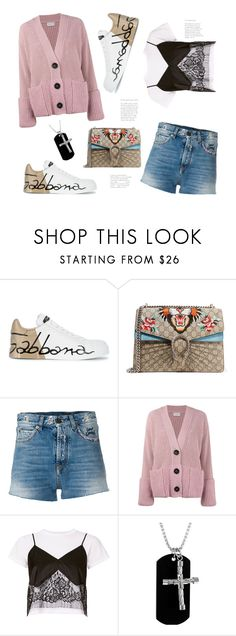 """""""Blogger Style"""" by badassbabyboomer ❤ liked on Polyvore featuring Dolce&Gabbana, Gucci, Yves Saint Laurent, Moncler and Michelle Mason"""