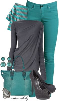 This outfit makes me wish I could pull off skinny jeans. TURQUOISE & CHARCOAL~ by MamieKnowsBest