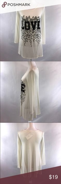 12 Pm By Mon Ami White Love Tunic Top Small New Bust measures 15 inches laying flat, length is 28.5 inches from the shoulder  # 12 Pm By Mon Ami White Gray Black Tunic Top Dress Cute With Leggings Size Small Leopard Print Animal Print New under $25 $50 $75 $100 Date Night Valentines Day Christmas Present New With Tags New White Tunic Top From a Boutique 12 Pm By Mon Ami Tops Tunics