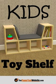 This kids toy shelf wood project is great for beginners that want to get some exposure to working with plywood. This project is perfect for a young kid, especially those at early reading ages. Also makes for a fantastic gift, or you could easily sell it. Plywood Projects, Wood Projects For Kids, Wood Projects For Beginners, Wood Working For Beginners, Project Ideas, Simple Wood Projects, Pallet Projects, Best Diy Projects, Outdoor Wood Projects