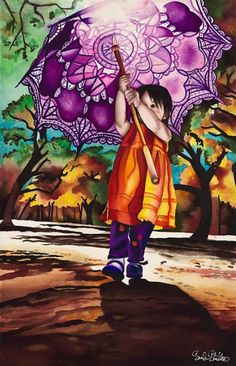 Purple parasol - watercolor by ©Sinclair Stratton  http://sinclairstratton.com/all-paintings/parasol-22x15-watercolor