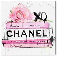 Dripping Roses and Chanel Canvas Print, Oliver Gal ❤ liked on Polyvore featuring home, home decor, wall art, rose home decor and rose wall art