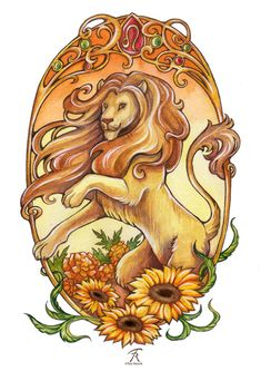 Made for the Art Noveau contest 2015 Contest: Zodiac (5 participants) The accompanying flowers for Leo are sunflower and marigold, and the gemstones are garnet and peridot Watercolors, A4 size...