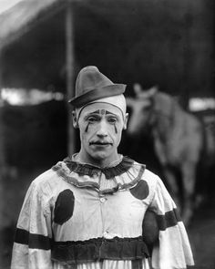 """Circus: The Photographs of Frederick W. Glasier   Clown, 1902    This unnamed clown was part of the """"merry clowns in ludicrous and grotesque antics"""" on the Walter L. Main, Big Fashion Plate Shows, """"an Organization in Keeping with the Century."""""""