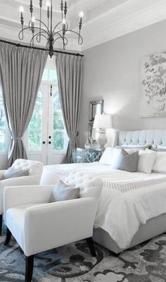 Dream Bed room, cozy comfy, and oh so sophisticated. Love the chairs and carpet!