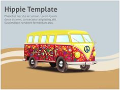 Free Hippie Powerpoint Template is great for presentations about hippies, cultural movements and similar topics. Free Keynote Template, Creative Powerpoint Templates, Ppt Template, Your Teacher, Presentation, Mac, Google, Green, Frases