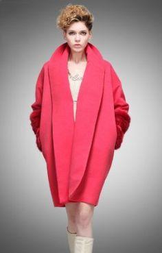 Buluos Montage Turndown Collar Wool Coat for Women (Large, Red) Buluos. $245.60