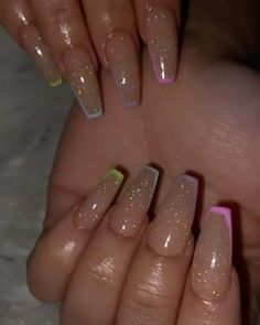 Summer Acrylic Nails Coffin Discover 23 Clear Acrylic Nails That Are Super Trendy 13 Short Square Acrylic Nails, Light Pink Acrylic Nails, French Tip Acrylic Nails, Acrylic Nails Coffin Short, Simple Acrylic Nails, Remove Acrylic Nails, Acrylic Nails Glitter, Clear Glitter Nails, Acrylic Spring Nails