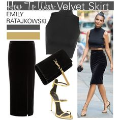 Velvet Skirt with Emily Ratajkowski... by nfabjoy on Polyvore featuring WearAll, Studio, Yves Saint Laurent, women's clothing, women's fashion, women, female, woman, misses and juniors